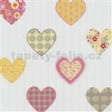 Papírové tapety na zeď Happy Kids 2 - srdíčka žluto-růžové