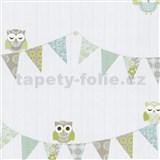 Papírové tapety na zeď Happy Kids 2 - sovy modro-zelené