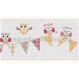 Bordura papírová Happy Kids 2 - sovy žluto-růžové 5 m x 26,5 cm