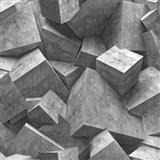 Vliesové tapety na zeď Hexagone 3D kostky šedé