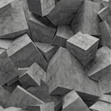 Vliesové tapety na zeď Hexagone 3D kostky černé