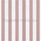 Papírové tapety na zeď pruhy růžové a bílé lesklé