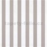 Papírové tapety na zeď pruhy hnědé a bílé lesklé