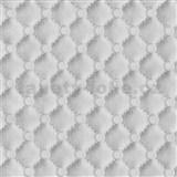 Vliesové tapety na zeď IDEA OF ART imitace koženky s prošíváním a knoflíky šedé