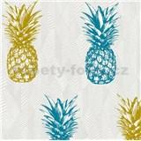 Vliesové tapety na zeď Il Decoro ananasy modré a žluté na bílém podkladu