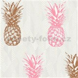 Vliesové tapety na zeď Il Decoro ananasy měděné a růžové na bílém podkladu