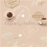 Vinylové tapety na zeď Il Decoro vzor káva na hnědém podkladu