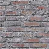 Papírové tapety na zeď Il Decoro cihlová zeď červeno-černá