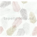 Vliesové tapety na zeď Infinity peří šedé, okrové, lososové, bílé