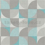 Vliesové tapety na zeď Inspiration Wall geometrický vzor tyrkysovo-šedý