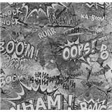 Papírové tapety na zeď It's Me komiksové bubliny šedé