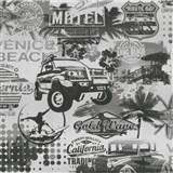 Papírové tapety na zeď It's Me Venice Beach černobílé