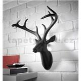 Dekorace na zeď - hlava jelena s parohy - černá 43 x 33 x 23 cm