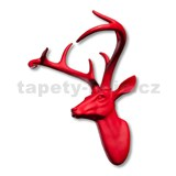 Dekorace na zeď - hlava jelena s parohy - červená 43 x 33 x 23 cm