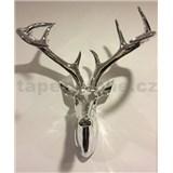 Dekorace na zeď - hlava jelena s parohy - chromová 43 x 33 x 23 cm