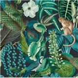 Vliesové tapety na zeď IMPOL Jungle Fever - fauna a flóra zeleno-tyrkysová