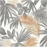 Vliesové tapety na zeď IMPOL Jungle Fever palmové listy zlato-šedé