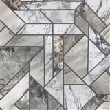 Vinylové tapety na zeď mramorované kachličky šedé  - SLEVA