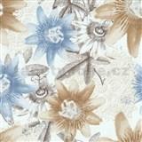 Vliesové tapety na zeď G. M. Kretschmer II květy modré a hnědé