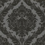 Tapety na ze� Classico - barokn� vzor - �ern� - �ed� podklad