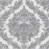 Tapety na ze� Classico - barokn� vzor - �ed� - b�l� podklad