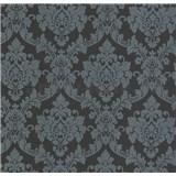 Luxusní vliesové tapety na zeď LACANTARA zámecký vzor stříbrný na černém podkladu