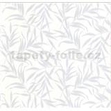 Luxusní vliesové tapety na zeď LACANTARA listy stříbrné na bílém podkladu - POSLEDNÍ KUSY
