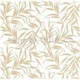 Luxusní vliesové tapety na zeď LACANTARA listy zlaté na bílém podkladu