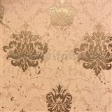 Tapety na zeď La Veneziana zámecký vzor damašek zlatý na cihlovém podkladu