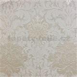 Tapety na zeď La Veneziana 3 zámecký vzor damašek bílý na světle hnědém podkladu