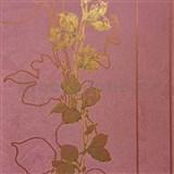 Tapety na zeď La Veneziana 3 stonky listů na vínovém podkladu