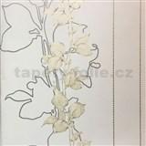 Tapety na zeď La Veneziana 3 stonky listů na světle béžovém podkladu