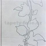 Tapety na zeď La Veneziana listy stříbrné na šedém podkladu