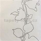 Tapety na zeď La Veneziana listy stříbrné na světle béžovém podkladu