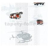 Dětské vliesové tapety na zeď Little Stars hasiči a vrtulník na bílém podkladu