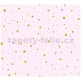 Dětské vliesové tapety na zeď Little Stars tečky zlaté a růžové na růžovém podkladu