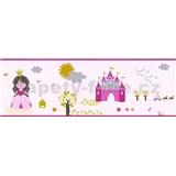 Dětské vliesové bordury Little Stars princezna a žabka na růžovém podkladu