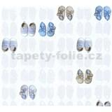 Dětské vliesové tapety na zeď Little Stars bačkůrky modré-hnědé
