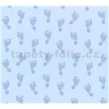 Dětské vliesové tapety na zeď Little Stars dětské stopy modré