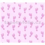 Dětské vliesové tapety na zeď Little Stars dětské stopy růžové