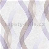 Vliesové tapety na zeď LIVIO vlnovky fialkovo-hnědé na krémovém podkladu
