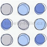 Tapety na ze� Lofty - kruhy modr� - SLEVA