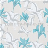 Vliesové tapety na zeď IMPOL Luna velké lesklé květy tyrkysovo -stříbrné