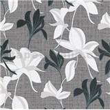 Vliesové tapety na zeď IMPOL Luna2 květy černo-bílé na šedém podkladu se stříbrnou nití