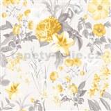 Vliesové tapety na zeď IMPOL Marbella květy žluté na světle šedém podkladu