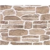 Tapety vliesové Suprofil - kamenná zeď - hnědý odstín