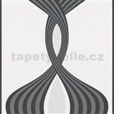 Vliesové tapety na zeď Panels stříbrno-černé