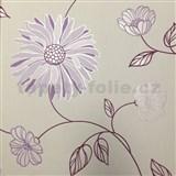 Vliesové tapety na zeď Summer Special - květy fialové na bílém podkladu