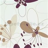 Vliesové tapety na zeď Suprofil Selection květy hnědo-fialové - SLEVA