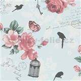 Vliesové tapety na zeď Zuhause Wohnen3 - Vintage Bird modré